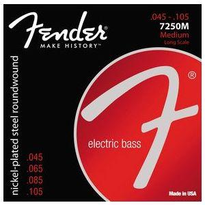 FENDER - 7250M Medium Nickel Plated Steel Electric Bass 045-105 0737250406 muta per basso elettrico 4 corde