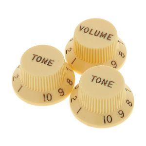 FENDER - Manopole Stratocaster Knobs, Aged White Volume, Tone, Tone