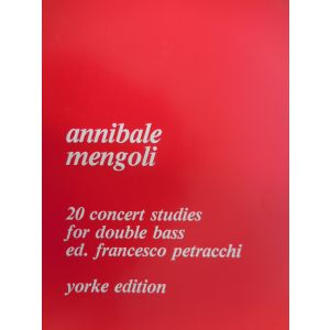 YORKE EDITION - A.Mengoli 20 Concert Studies For Double Bass Ed.f.